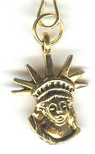 Statue of Liberty Head Gold Zipper Pull