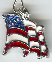 Enameled Waving US Flag Zipper Pull